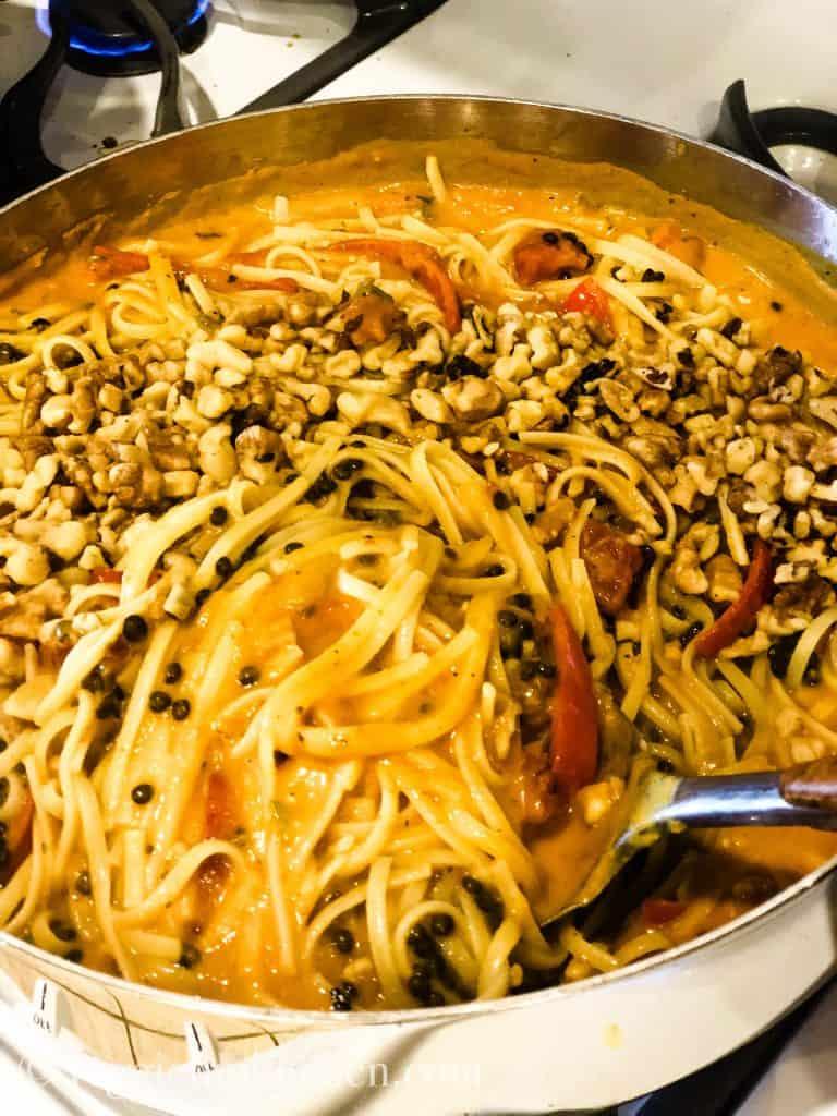 pumpkin pasta in large saute pan