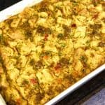 vegan breakfast casserole in white baking dish