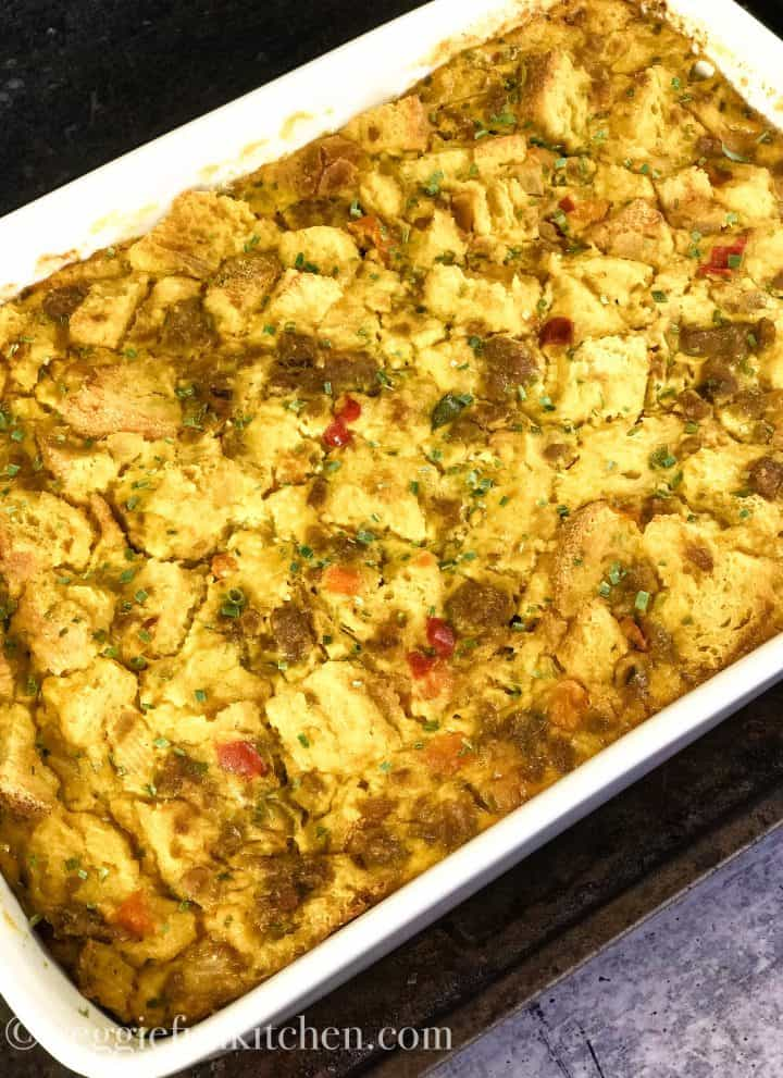 vegan breakfast casserole in white baking dish
