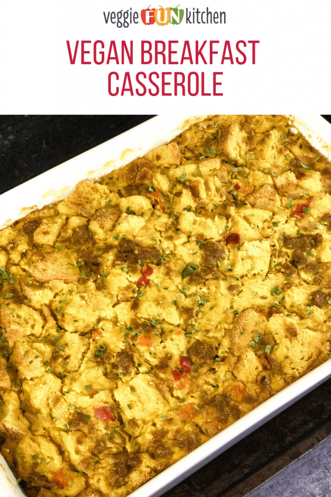 breakfast casserole white pan with text overlay