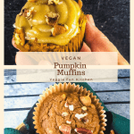 pumpkin muffins with pecans and one with frosting. with text overlay