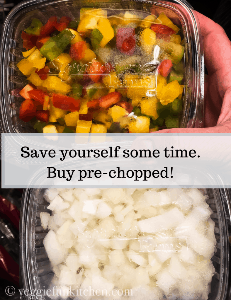 chopped onions and peppers in plastic containers