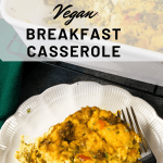 breakfast casserole on white plate with fork and in white baking dish with text overlay