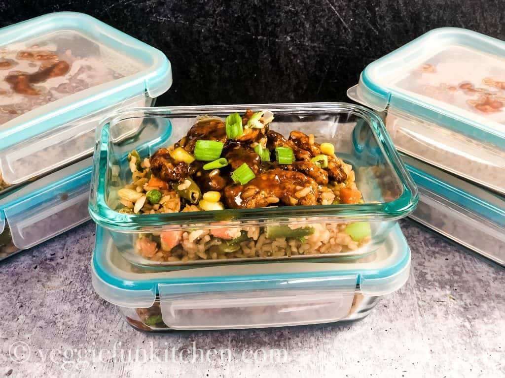 vegan orange chicken in meal prep containers