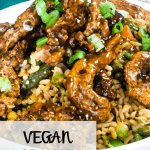 vegan orange chicken in a bowl with text overlay