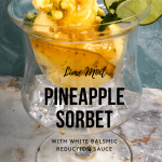 pineapple sorbet in crystal dish with text overlay