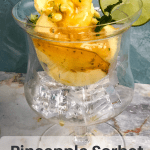 Pineapple sorbet in a crystal dish with text overlay
