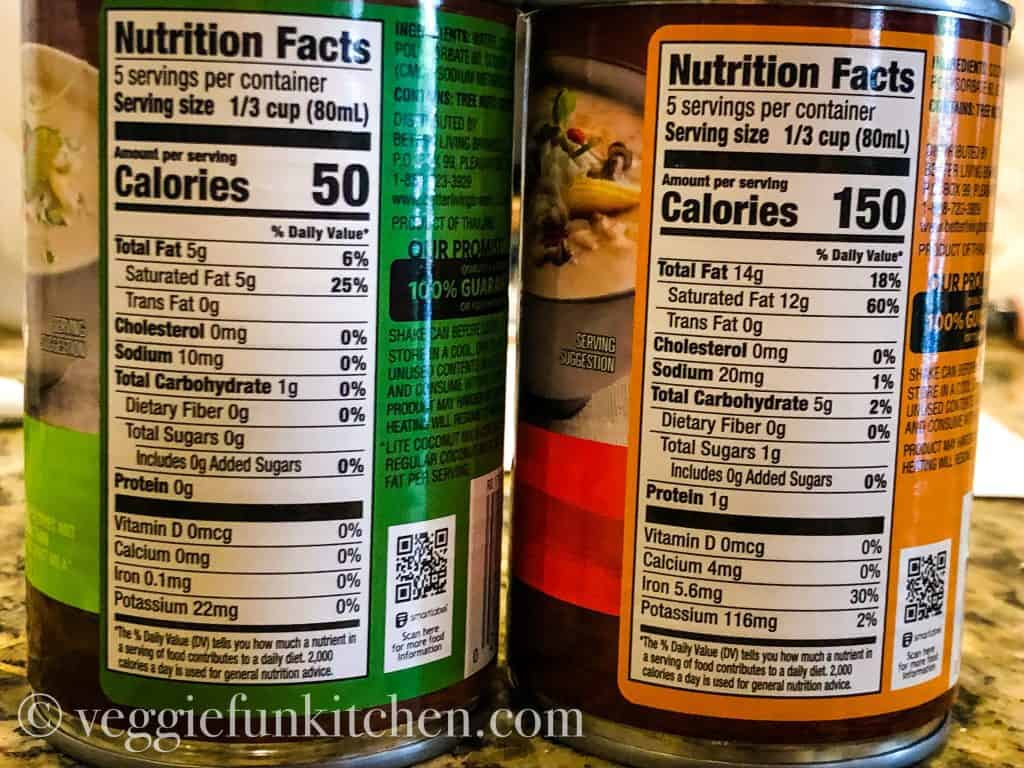 nutrition labels from coconut milk cans - both lite and full fat