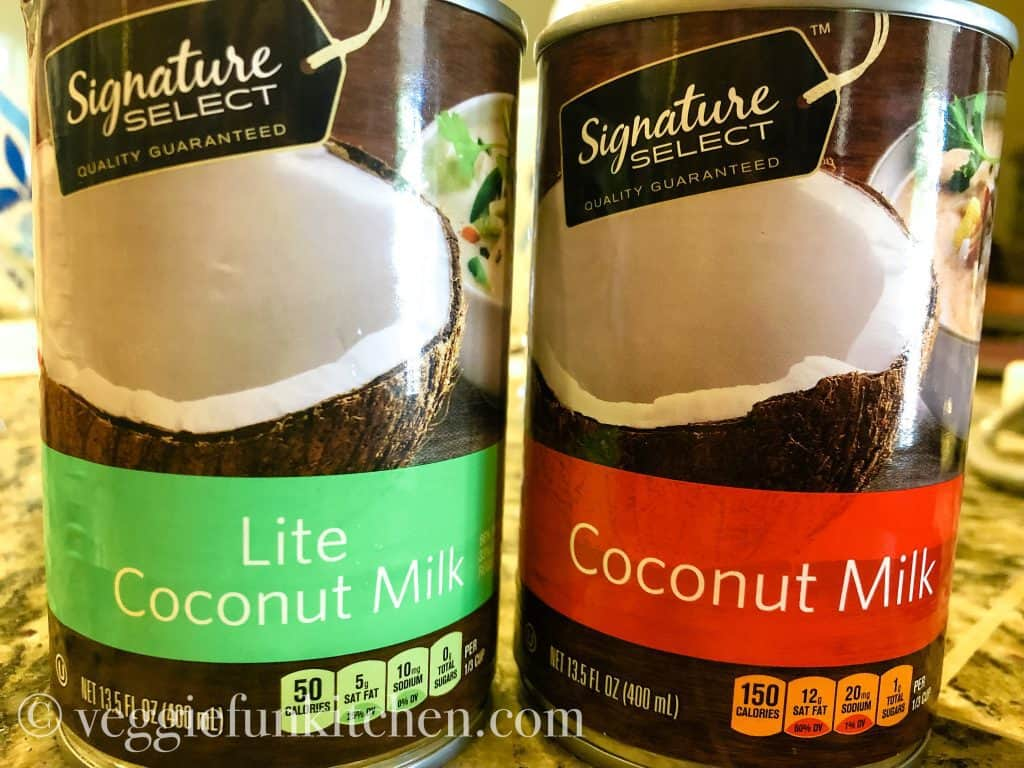 two cans of coconut milk - one lite and one full fat