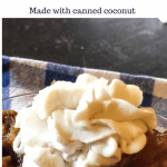vegan whipped cream on apple dessert with text overylay