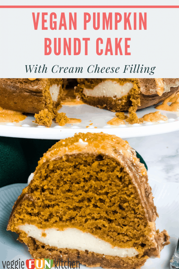 vegan pumpkin bundt cake on platter with slice in foreground
