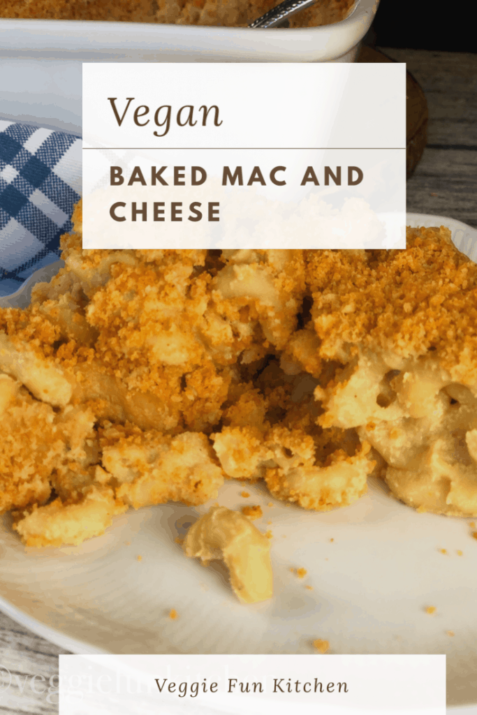 vegan baked mac and cheese on white plate with text overlay