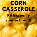 corn casserole with text overlay