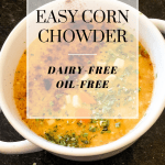 Corn chowder in white bowl with text overlay