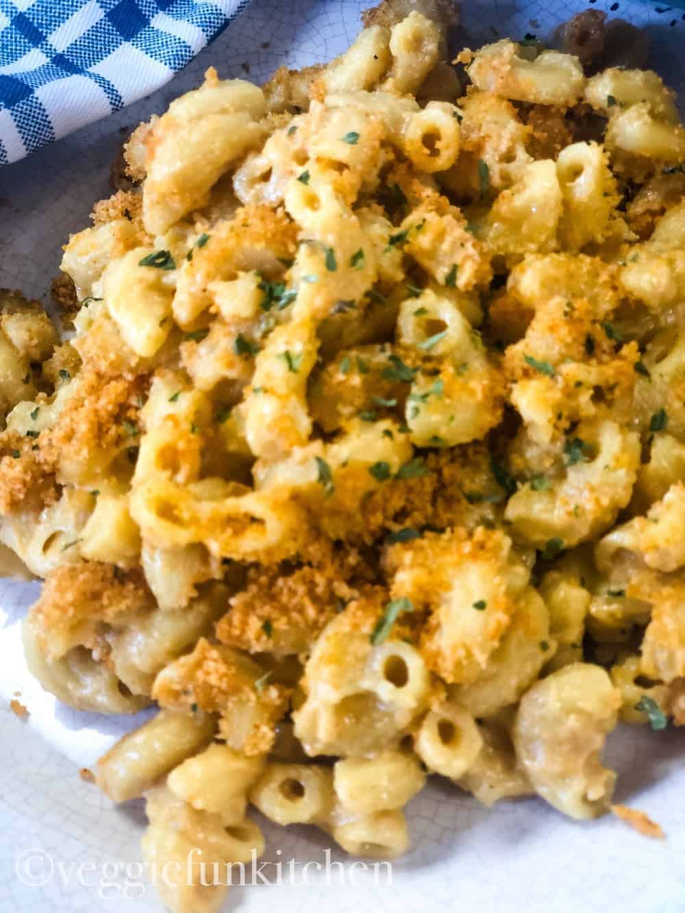 vegan baked mac and cheese on a plate
