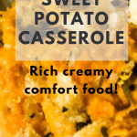 sweet potato casserole on plate with text overlay