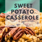 sweet potato casserole on white plate with text overlay