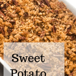 sweet potato casserole in white pan with text overlay