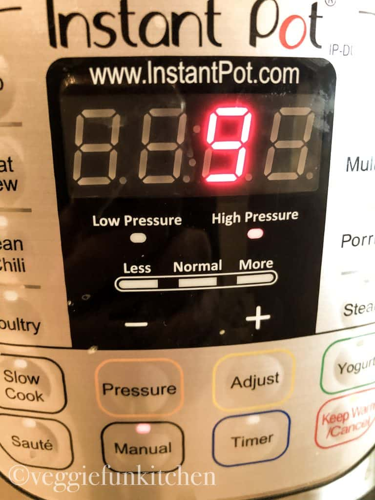 instant pot set at 9 minutes high pressure