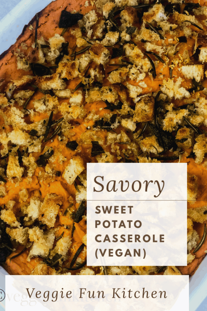 sweet potato casserole in white baking dish with text overlay