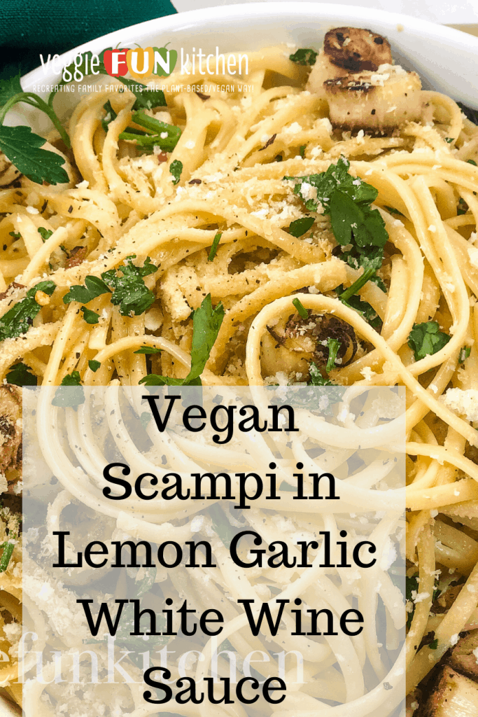 vegan scampi in white bowl with text overlay