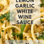 Vegan Scampi in Lemon Garlic White Wine Sauce in white bowl with text overlay