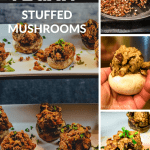 vegan stuffed mushrooms on trays, in hand, and cooking with text overay