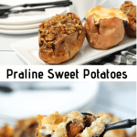 sweet potato brown sugar praline boats on white serving plate with text overlay