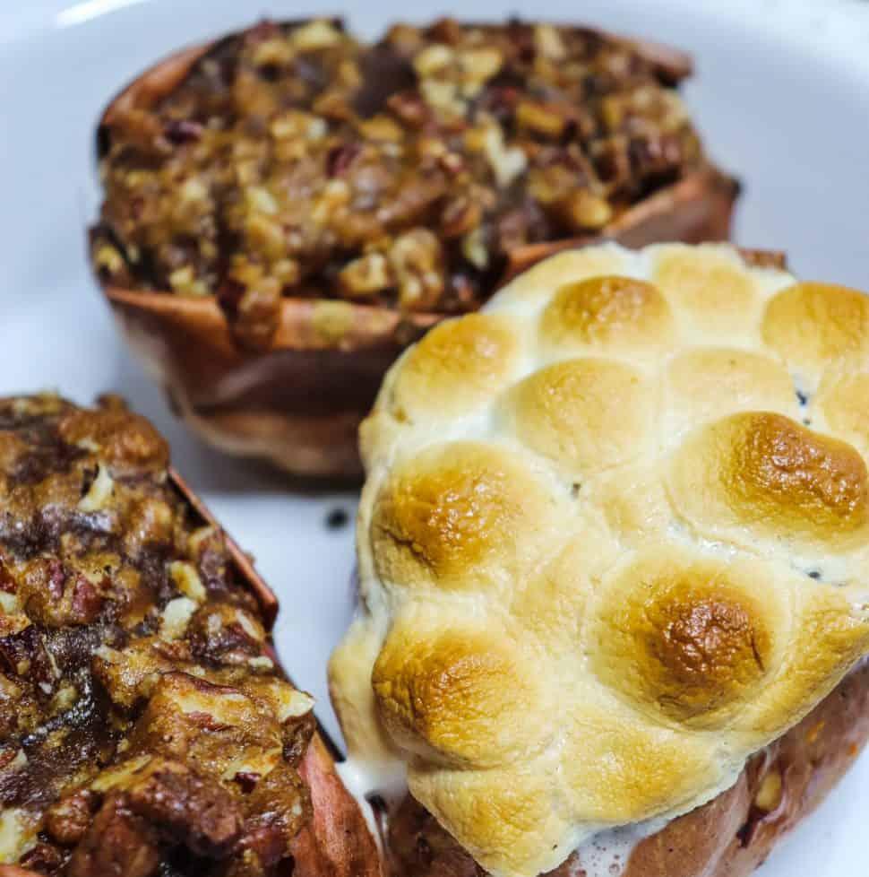 three cooked praline sweet potatoes