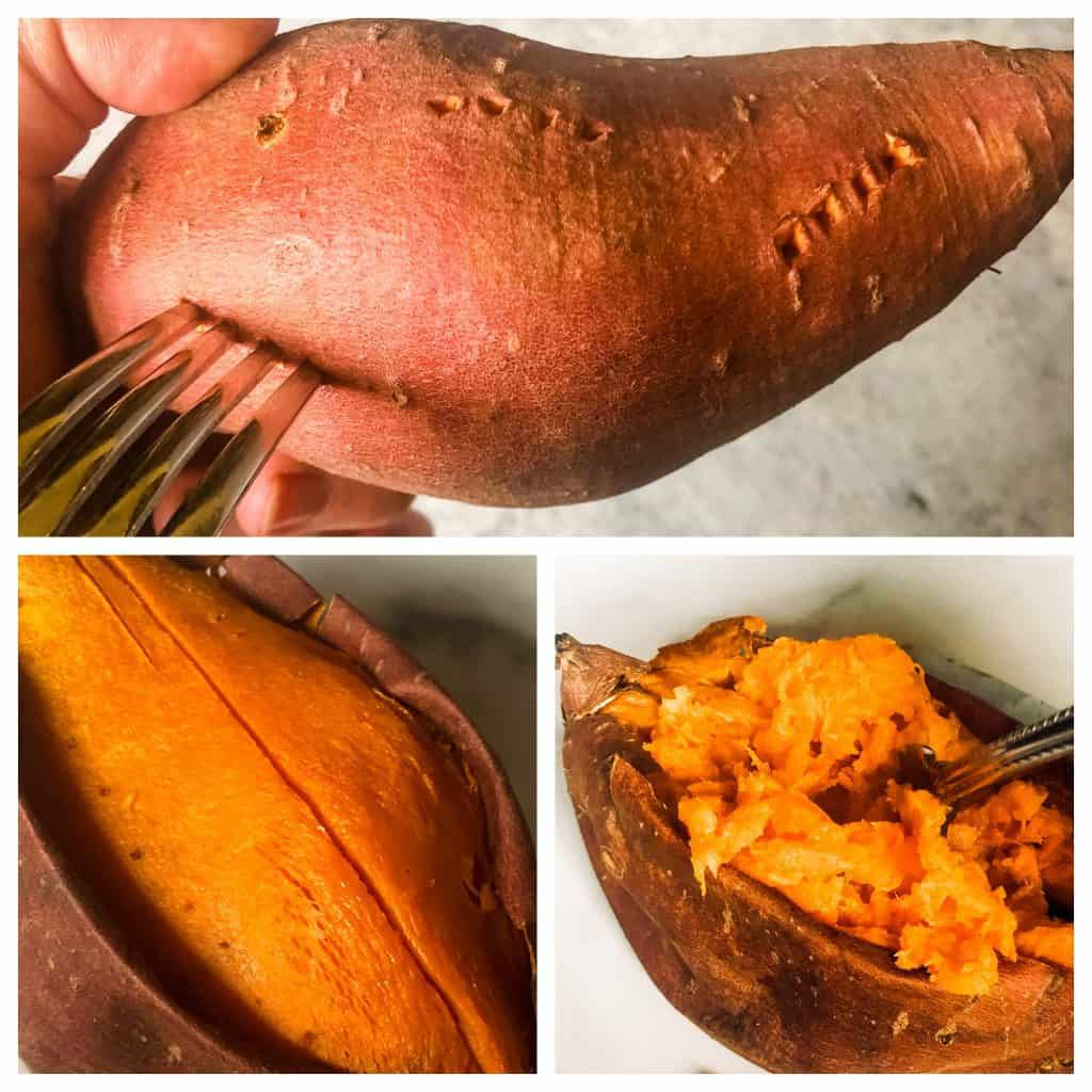 steps to baking a sweet potato - scoring with a fork, opening and turning under skin, fluffing with a fork