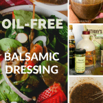balsamic oil free dressing pouring on salad and ingredients with text overlay