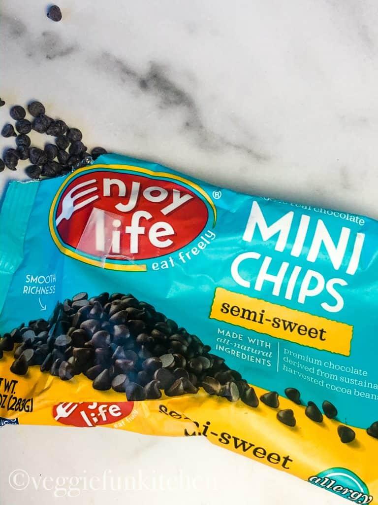 vegan chocolate chips in bag - brand Enjoy Life