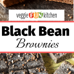 black bean brownies cut on parchment and stacked with text overlay