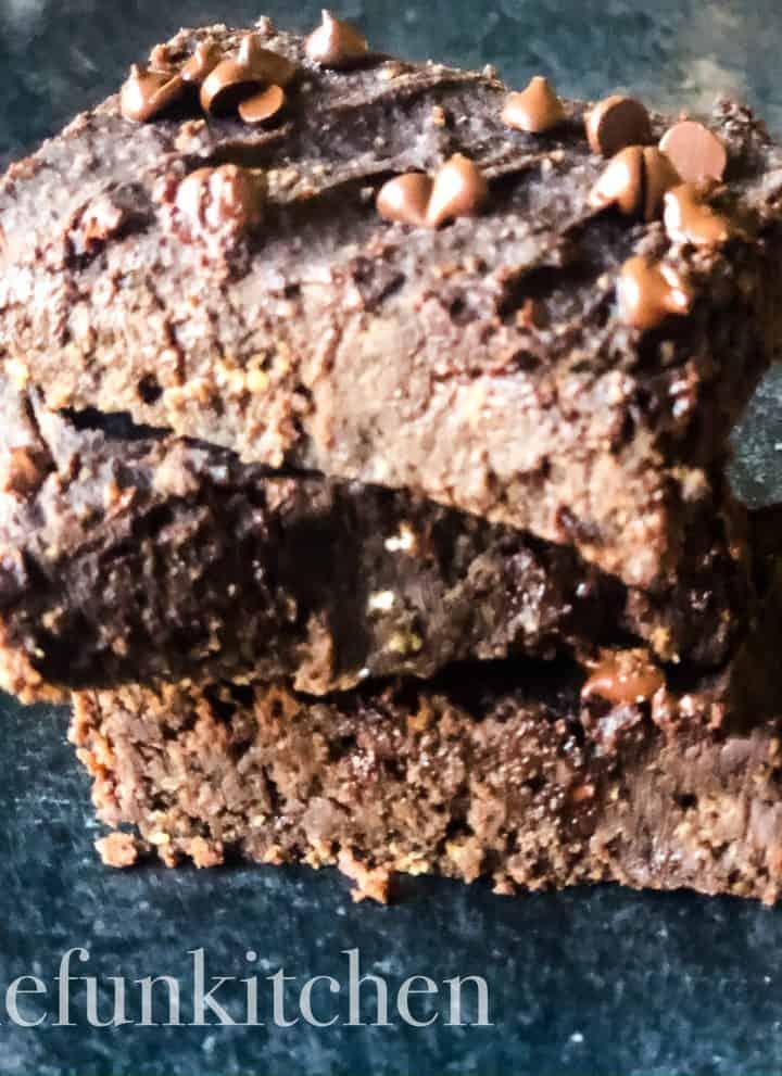 stack of three black bean brownies