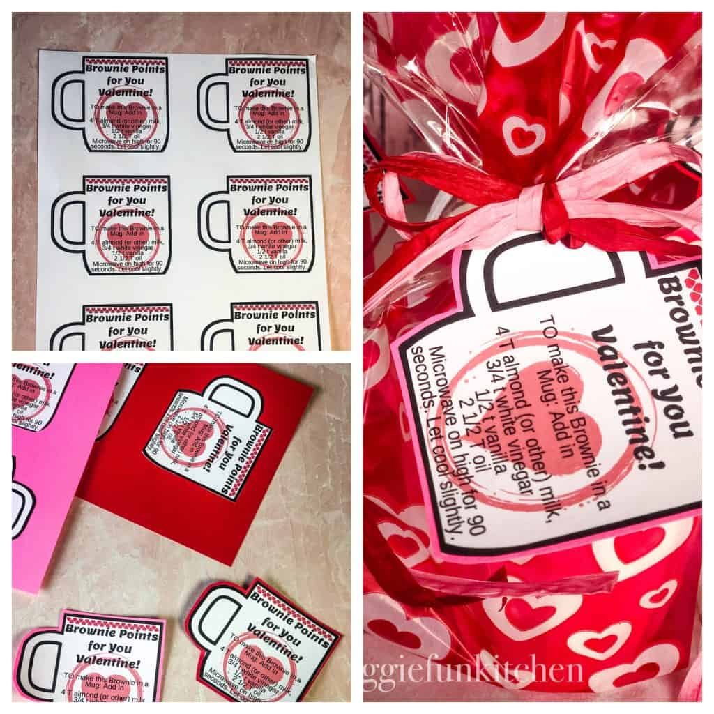 collage showing steps of valentine craft: print out mugs with directions, cut and glue to colorful cardstock, put mug in valentine bag and tie on directions with raffia ribbon