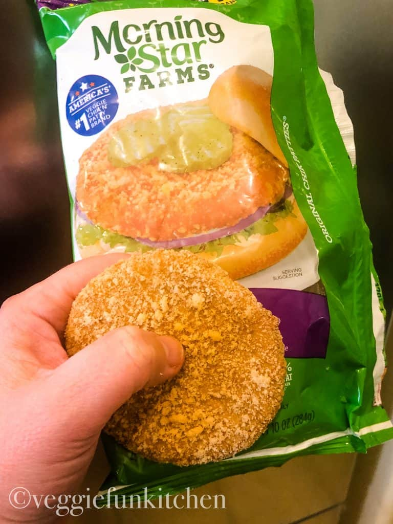package of morning star farms chick patties help in hand