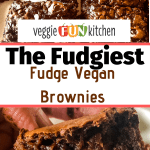 vegan brownies cut and in hand with text overlay