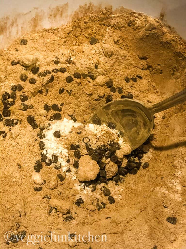 dry ingredients for brownies in mixing bowl