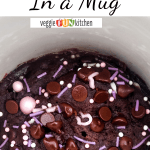 vegan brownie in a mug with text overlay