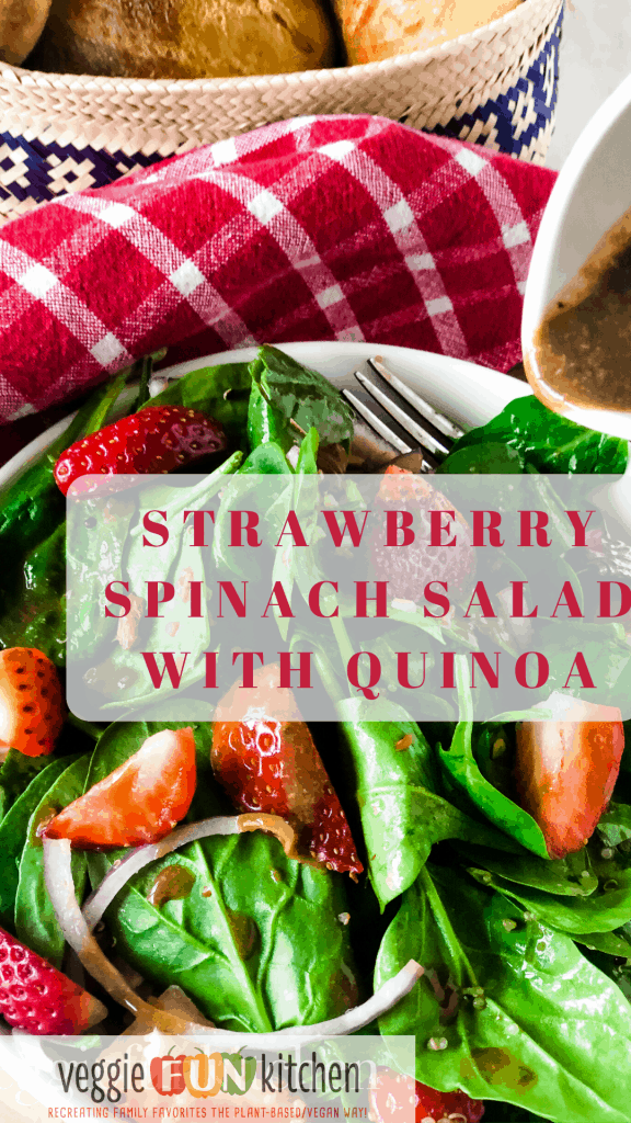strawberry spinach salad with text overlay