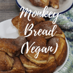 monkey bread on a plate with text overlay