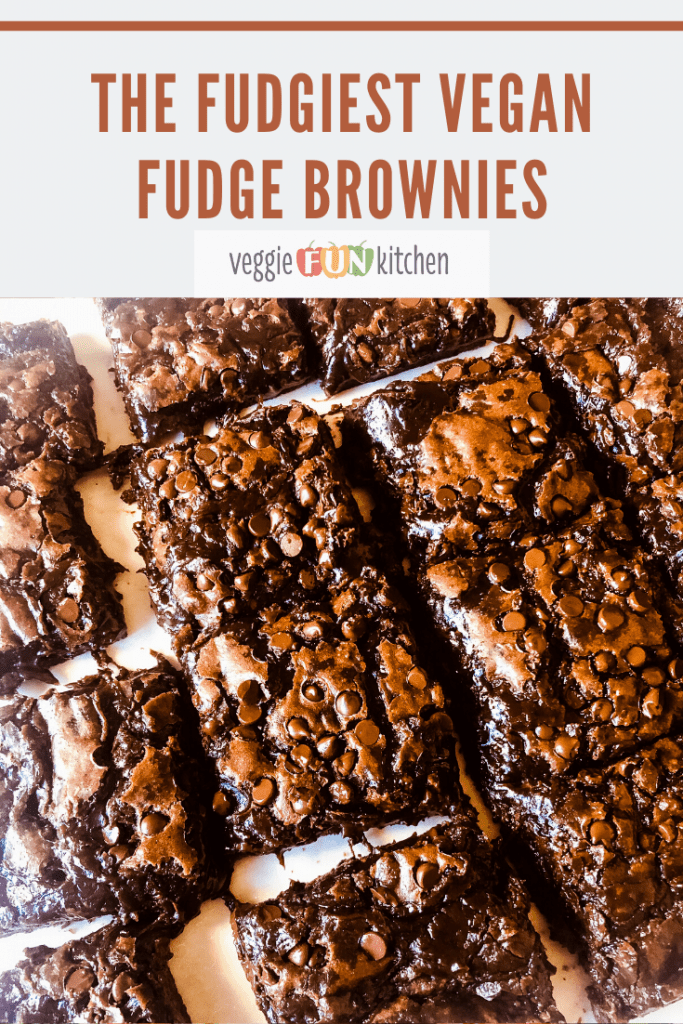 fudge brownies cut on parchment paper with text overlay