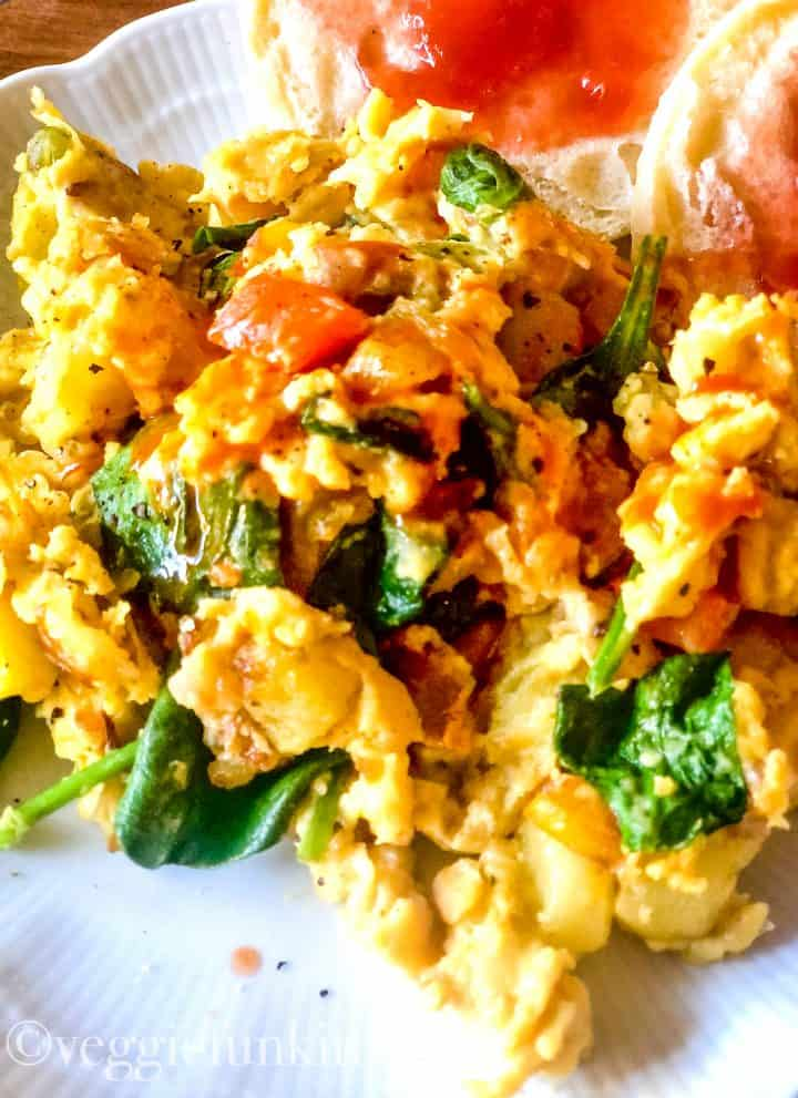 vegan breakfast scramble on white plate