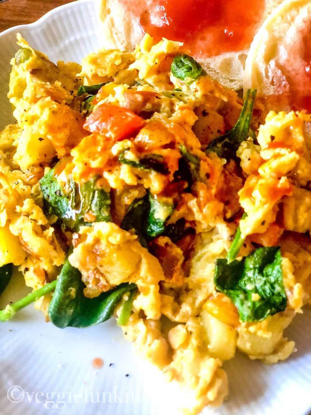 vegan breakfast scramble on white plate