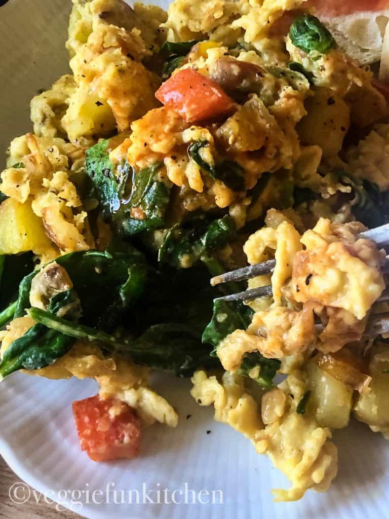 vegan breakfast scramble on plate