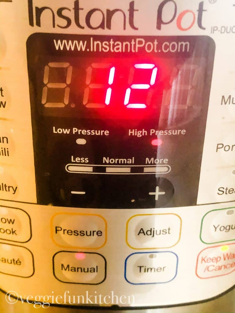 instant pot showing 12 minutes