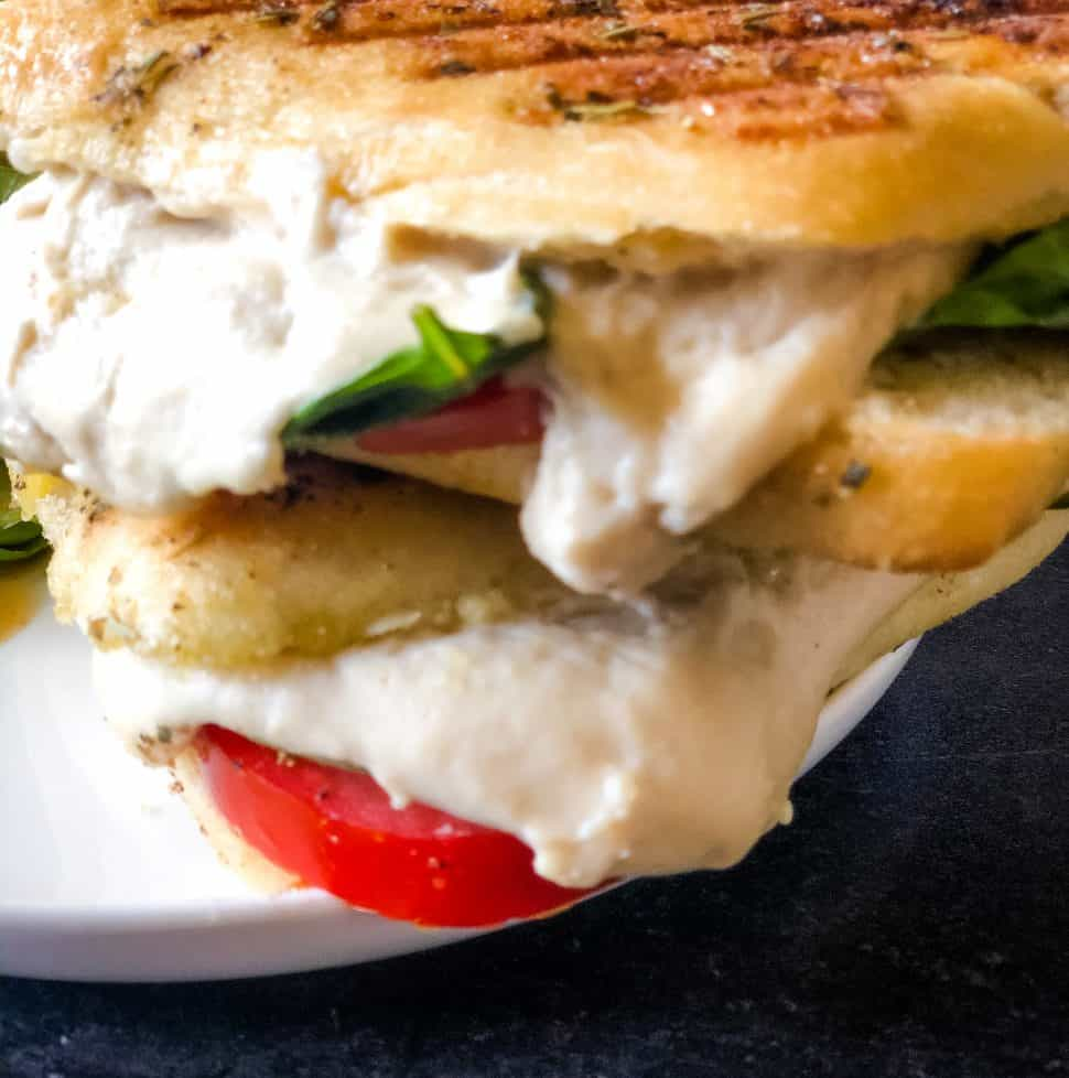 caprese panini on white plate with green salad