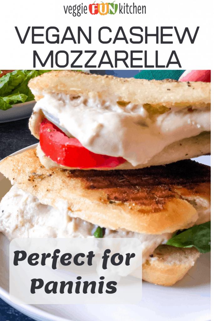 vegan mozzarella on two paninis with text overlay