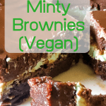 Chocolate mint brownies on a plate with a piece on a fork with text overlay
