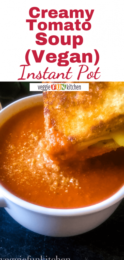 tomato soup in white bowl with grilled cheese and text overlay